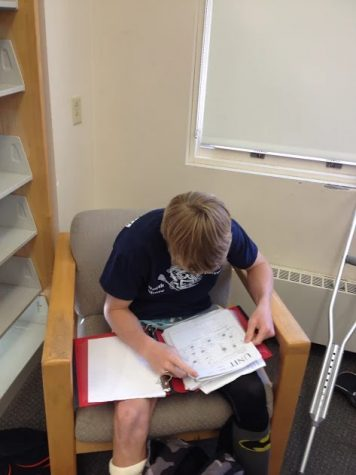 Senior Kilian Morrissey finds himself spending his lunch time finishing up his homework