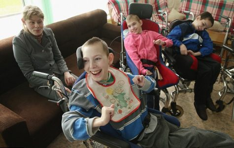 Pictured are children living with congenital birth defects, directly linked to the presence of hazardous levels of Strontium-90 in Chernobyl-contanimnated counties.