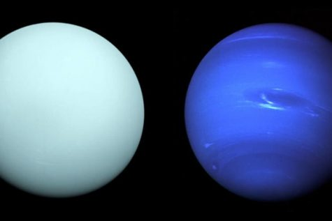 Image of Uranus (left) and Neptune (right) provided by Astronomy magazine