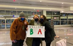 Lydia and her brother Quinn greet Beatrice for the first time at the Boston Logan Airport.